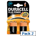 Duracell Plus Power 9V Alkaline Battery MN1604 Pack 2