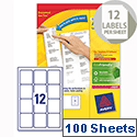 Avery L7164-100 Address Labels Laser 12 per Sheet 63.5x72mm White 1200 Labels