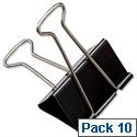 IXL Foldback Clips 41mm Black Pack 10