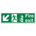 Safety Sign Fire Exit Running Man Arrow Down Left 150x450mm Self-Adhesive Vinyl