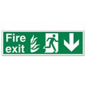 Stewart Superior Sign Fire Exit Arrow Down 450x150mm PVC
