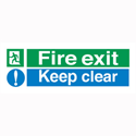 Stewart Superior Sign Fire Exit Keep Clear 450x150mm PVC