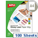 Apli Double Sided Laser Printer Paper Glossy A4 160gsm (Pack of 100)