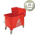 Mop Bucket Mobile Colour-coded with Handle 4 Castors 20 Litre Red SPC/MB20R