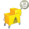 Mop Bucket Mobile Colour-coded with Handle 4 Castors 20 Litre Yellow SPC/MB20Y