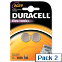 Duracell DL2025 Battery Lithium for Camera Calculator or Pager 3V 75072667 Pack 2