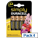Duracell MN1500 Simply Battery AA 81235210 Pack 4