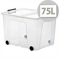 Strata Smart Storage Box Clear 75 Litres Clip On Lid Carry Handles