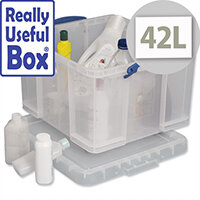 Plastic Storage Box 42 Litre Stackable Clear Really Useful