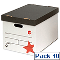 Lever Arch Files Storage Box A4 White and Black 10 Pack 5 Star
