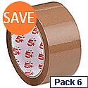 Polypropylene Packing Tape 50mm x 66m Buff 6 Pack 5 Star