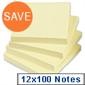 Yellow Sticky Notes Pad of 100 Sheets 76x76mm Pack 12 5 Star