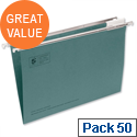Foolscap Green Suspension File Pack 50 Heavyweight with Tabs and Inserts  5 Star