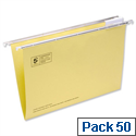 Yellow Foolscap Suspension File Heavyweight with Tabs and Inserts 5 Star Pack 50