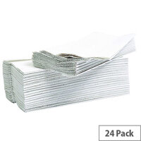 2Work Flushable C-Fold Hand Towel Embossed 2-Ply White 96 Sheets Pack of 24 2W00270