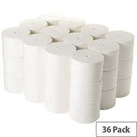 2Work Coreless Toilet Rolls 95mm x 96m 800 sheets White 36 Pack TWH900
