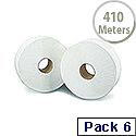 2Work Jumbo Dispenser Roll 2-Ply White 92mm x410 Metres 76mm Core Pack of 6 J27410