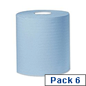 2work Centre Feed Cleaning Roll 1-Ply 300 Metre Blue Pack of 6 C1B300