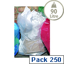 2Work Clear Refuse Sacks 90L Polythene Bags On a Roll Pack of 250 MVK032