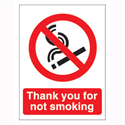 Stewart Superior Sign Self-adhesive Vinyl - Thank You For Not Smoking - 140x115mm Ref NS019