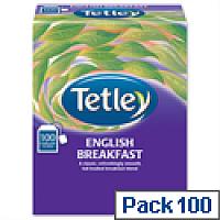 Tetley Tea Bags String and Tag English Breakfast 100 Bags