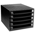 5 Drawer Set Recycled Plastic Black Exacompta Ecoblack