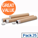 Mailing Tubes For Documents Up To A2 Size 450x50mm Brown (Pack of 25)
