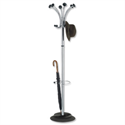 Hat and Coat Stand Tubular Steel with Umbrella Holder 4 Hooks 6 Pegs H1770mm Chrome