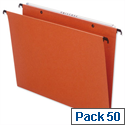 Bantex Linking Vertical Suspension File Foolscap Orange 15mm Capacity Pack 50