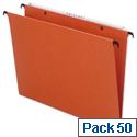 Bantex Linking Vertical Suspension File Foolscap Orange 15mm Capacity Pack 50