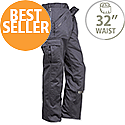 Portwest Action Work Trousers Polycotton Reinforced Multiple-Pockets Regular 32in Black Ref S887REGBlack32