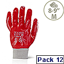 """Portwest PVC Knitted Wrist Work Gloves Cotton & PVC Red Medium 8""""-9"""" Pack 12 Ref A400MED"""