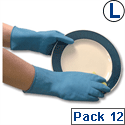 Polyco Matrix Household Gloves Lightweight Natural Rubber Rolled-Cuff Large Blue [12 Pairs]