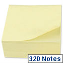 Sticky Notes Cube Pad of 320 Yellow Sheets 76x76mm 5 Star