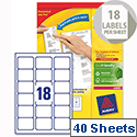 Avery L7161-40 Address Labels Laser 18 per Sheet 63.5x46.6mm White 720 Labels