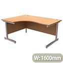 Office Desk Radial Left Hand Silver Legs Beech Trexus Contract