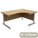 Office Desk Radial Right Hand Silver Legs Oak Trexus Contract
