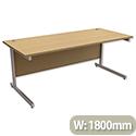 Office Desk Rectangular Silver Legs W1800mm Urban Oak Ashford