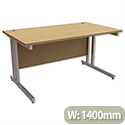 1400mm Wide Oak Desk With Double Cantilever Extra Strong Silver Legs Trexus Contract Plus