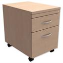 Mobile Filing Pedestal 2-Drawer Maple Kito