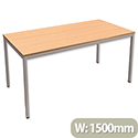 Trexus Rectangular Table with Silver Legs 18mm Top W1500xD750xH725mm Beech