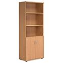 Tall Cupboard Part-Open Lockable Bottom Doors W800xD420xH1850mm Beech Kito