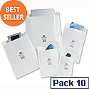 Jiffy No.4 White Postal Bags Bubble Lined 240x320mm Peel and Seal (Pack of 10)