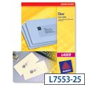 Avery L7553-25 Clear Address Labels Laser 48 per Sheet 22 x 12.7mm