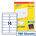 Avery QuickDRY Inkjet Address Labels 14 per Sheet 99.1x38.1mm White Ref J8163-100 [1400 Labels]