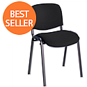Multipurpose Fabric Upholstered Stacking Chair Black Trexus Budget