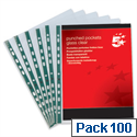 A4 Clear Punched Pockets Pack 100 5 Star