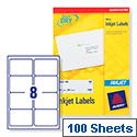 Avery QuickDRY Inkjet Address Labels 8 per Sheet 99.1x67.7mm White J8165 [800 Labels]