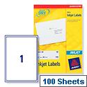 Avery QuickDRY Inkjet Address Labels 1 per Sheet 199.6 x 289.1mm White J8167 [Pack 100]