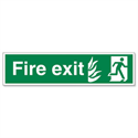 Stewart Superior Fire Exit Sign Man to Right 600x150mm Self-Adhesive PVC